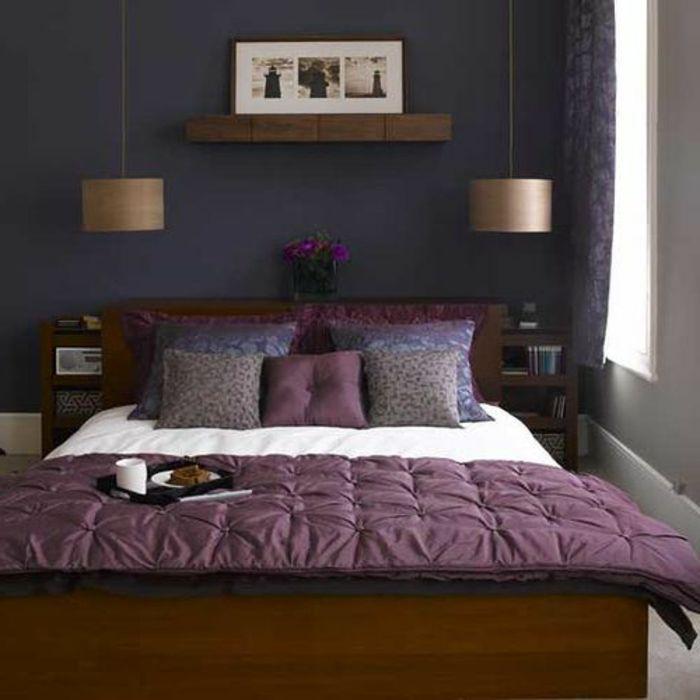 80 id es d 39 int rieur pour associer la couleur prune lit - Tableau pour chambre a coucher ...