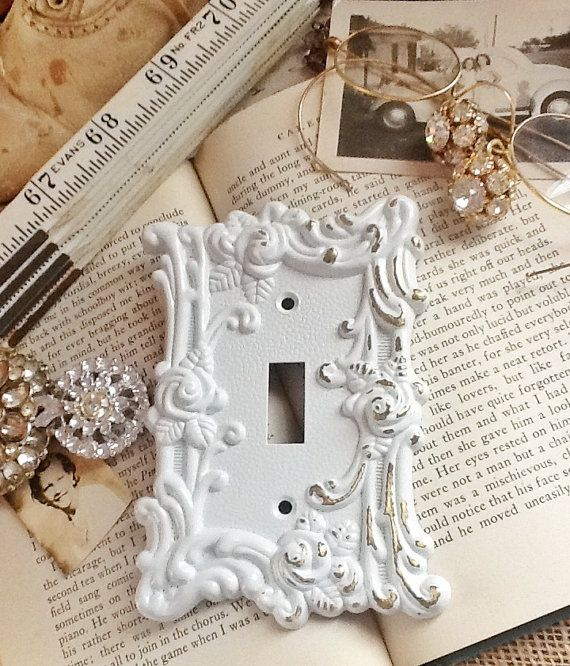 Vintage Metal Wall Decor Light Switch Cover In White Shabby Chic Single Roses Ornate Distressed Spring Flowers On Etsy 18 00