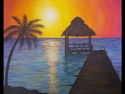 Easy Sunset Ocean Seascape Acrylic Painting Video Tutorial By