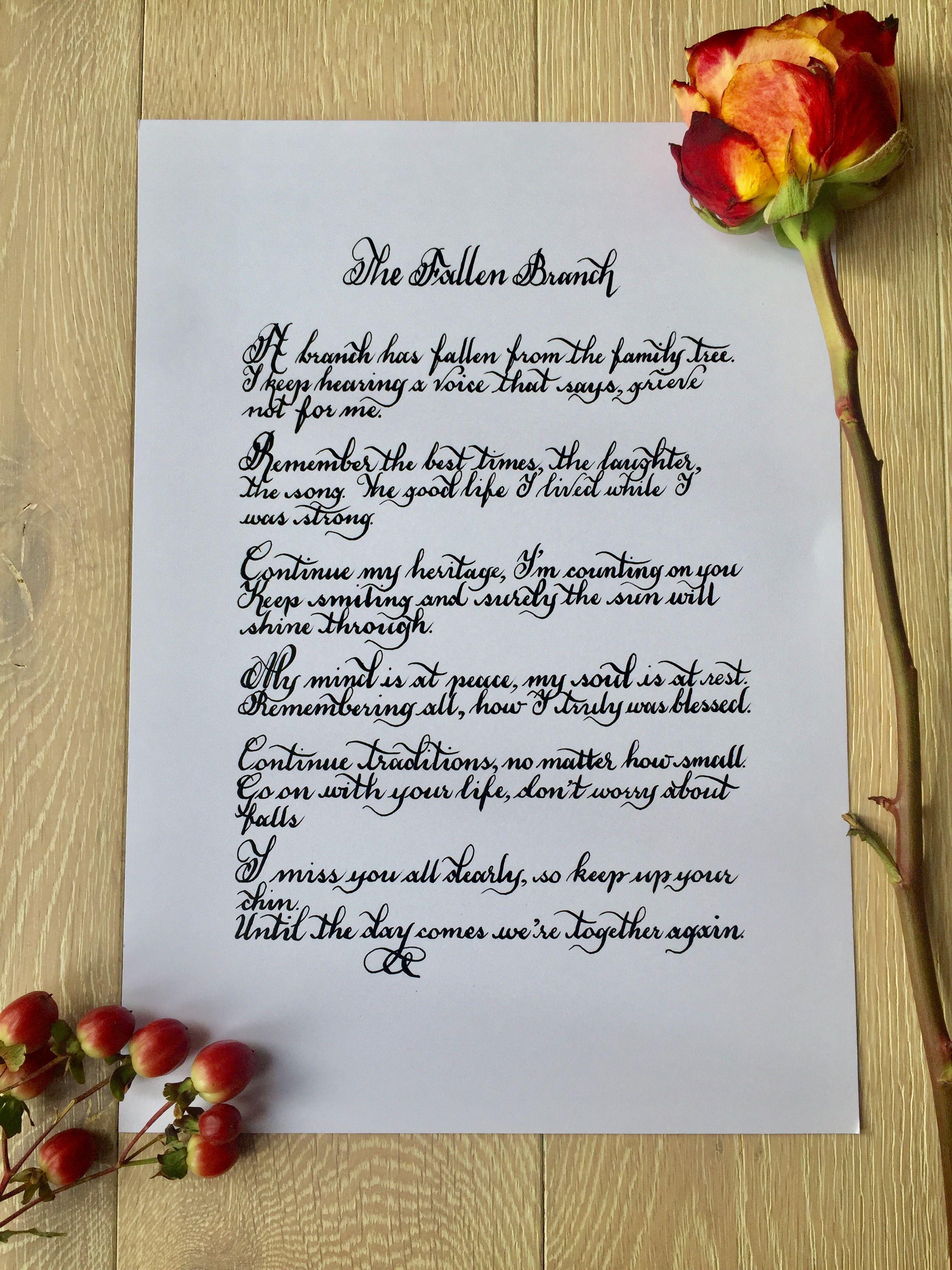 The Fallen Brach Handwritten In Calligraphy Handwritten
