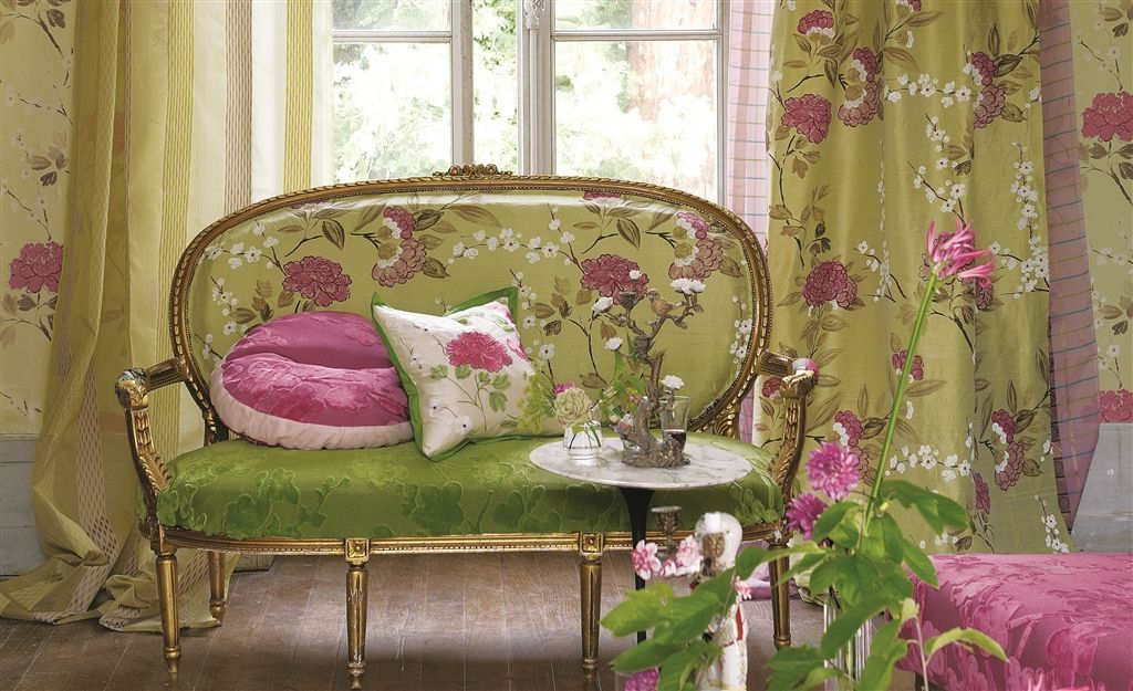 French Neoclassical Settee; Designers Guild; Oriental Garden Fabric  Collection
