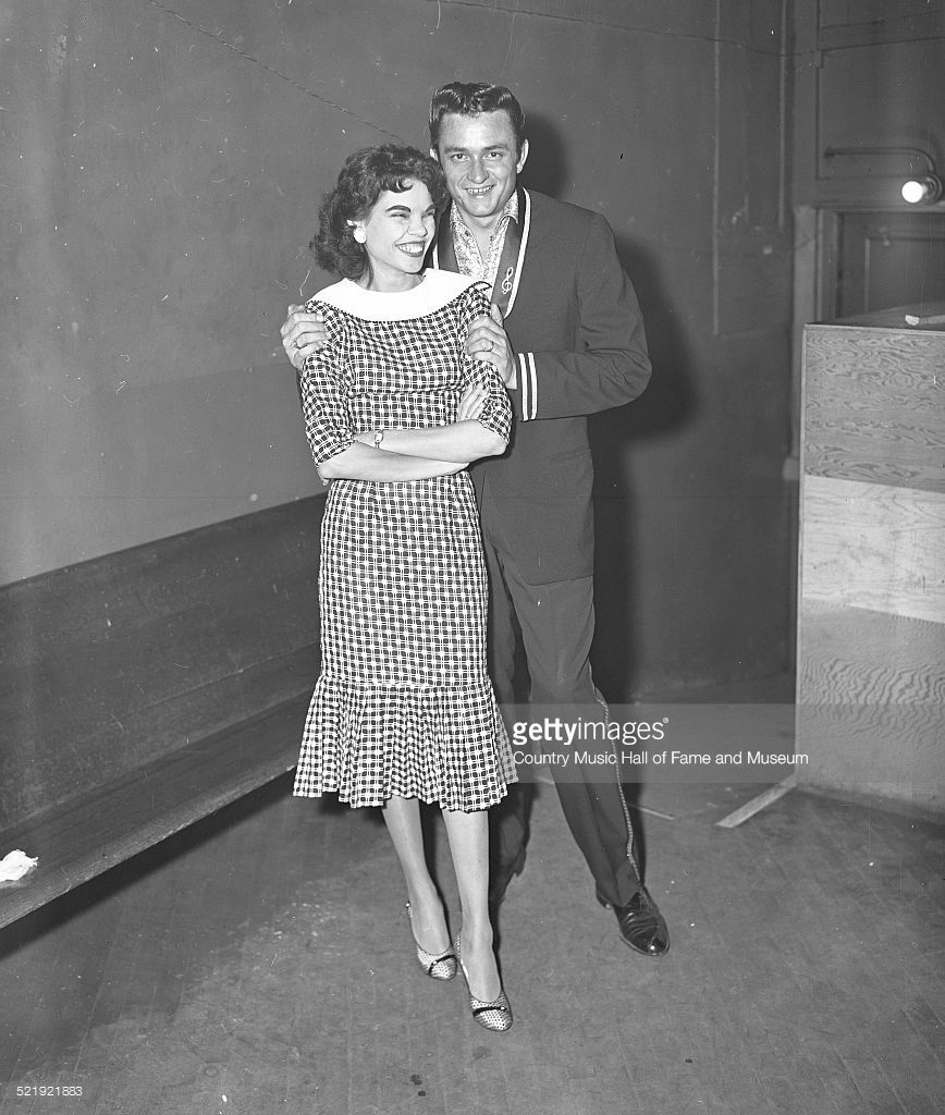 Johnny Cash and his wife, Vivian Liberto Cash, backstage ...