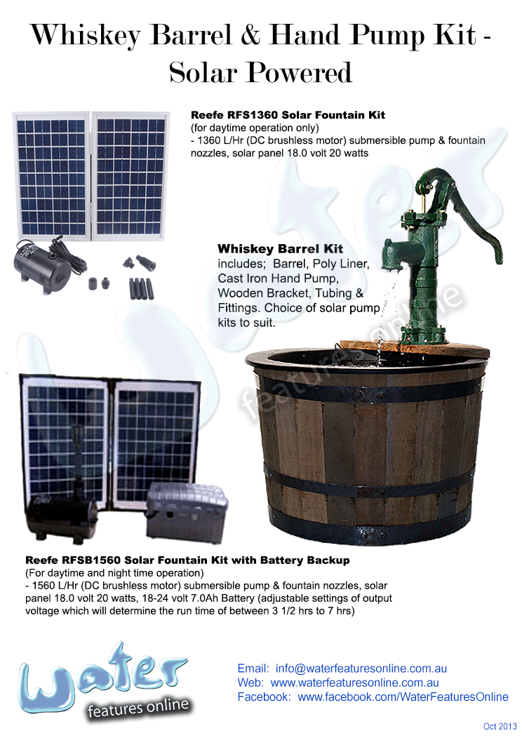 Whiskey Barrel And Cast Iron Hand Pump Kit Solar Powered Kits Are Available From Waterfeaturesonline And Solar Fountain Solar Water Pump Diy Solar Fountain