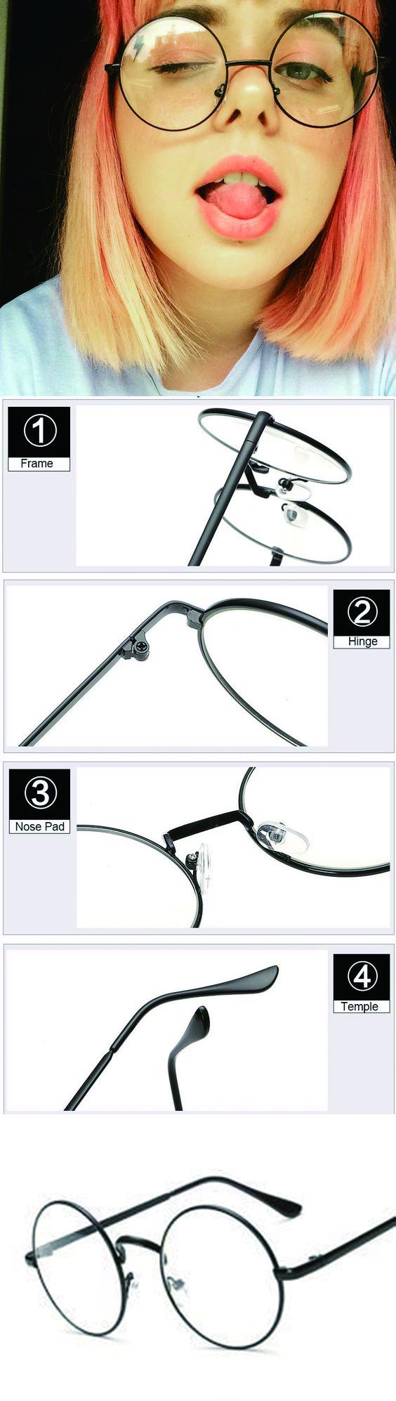 96f4b2ca6b Vintage Transparent Women Glasses Metal Full Frame Optical Round Lens  Glasses Female Clear Reading Plain-Glasses Oversized