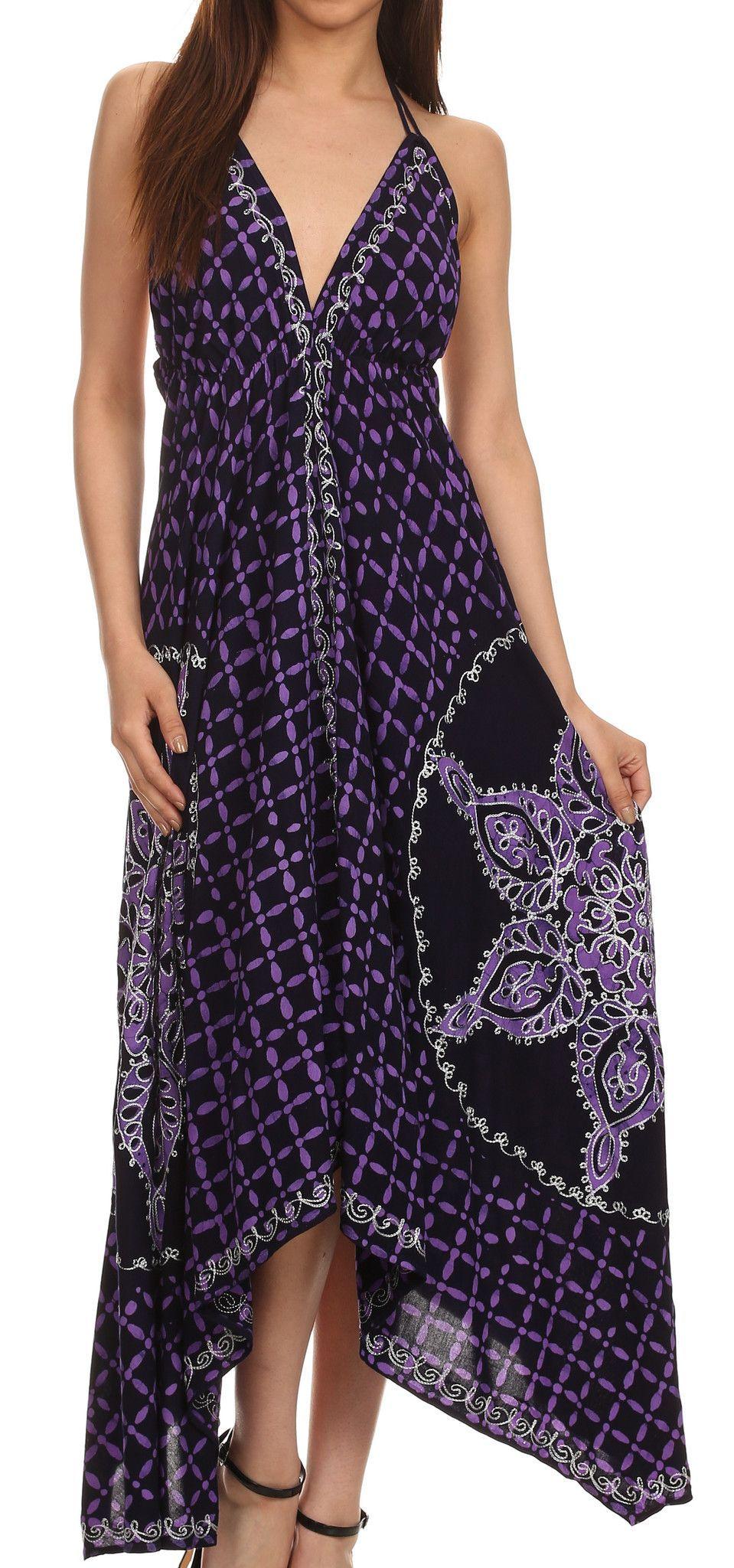 Sakkas Shana Batik Embroidered Handkerchief Hem Adjustable Halter Dress
