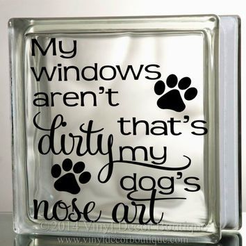 Dogs nose art glass block decal tile mirrors diy decal for glass blocks my windows arent dirty dogs nose art by vinyldecorboutique on etsy