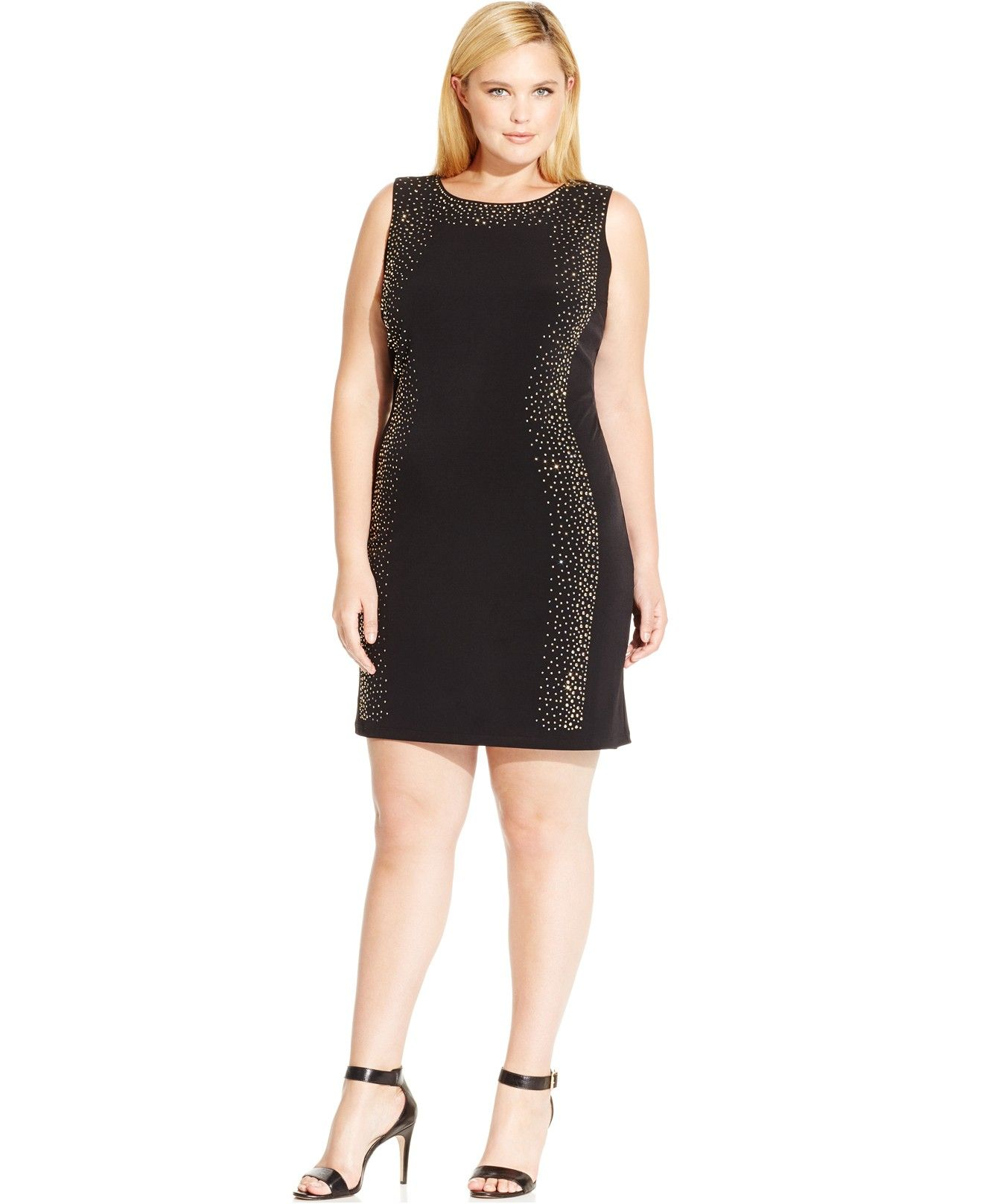 55075e3b74 Calvin Klein Plus Size Studded Bodycon Dress - Calvin Klein - Plus Sizes -  Macy s