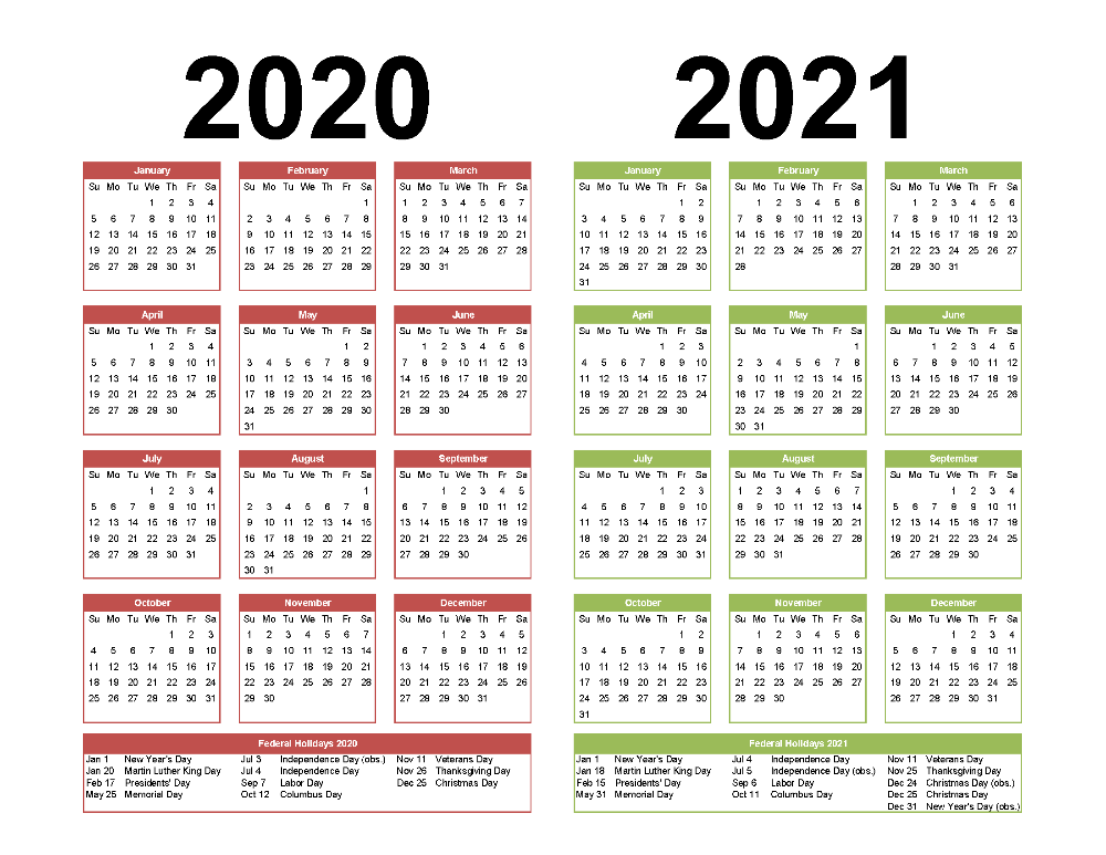 Yearly Calendar 2020 And 2021 2 Year Calendar Printable 2020 2021 Word, PDF, Image | Free