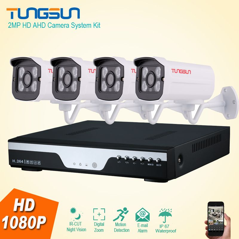 New 4 Channel HD AHD 2MP Home Outdoor Security Camera System Kit ...