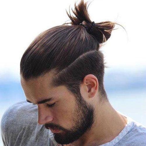 Top Knot Bun For Long Hair Man Bun Hairstyles Hair Styles Man Ponytail