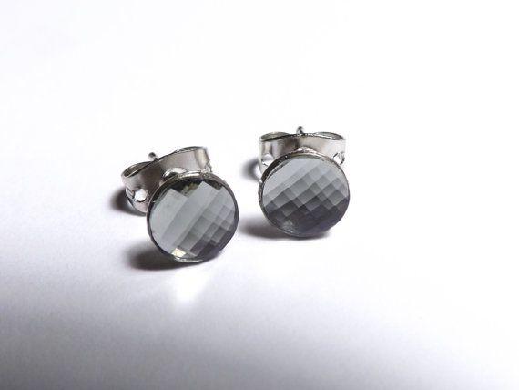 Swarovski Black Diamond Stud Earrings For Men By Daisybellbeads 10 00