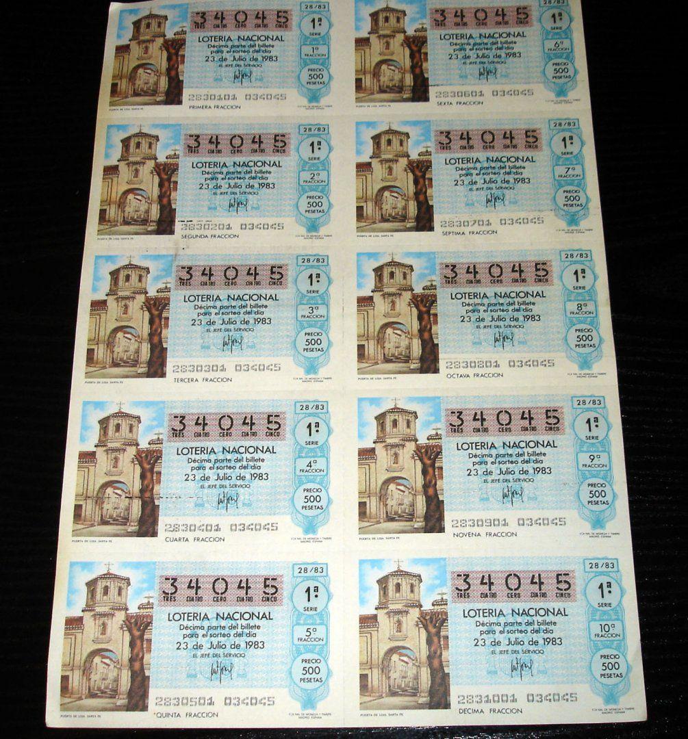 4,00€ · Loteria Nacional-puerta de loja sta fe-1983 · Gastos envio incluidos  Nacional    bloque de diez decimos del año 1983   -puerta de loja sta fe- 28-83500   en perfecto estado · Aficiones y ocio > Coleccionismo > Loterías