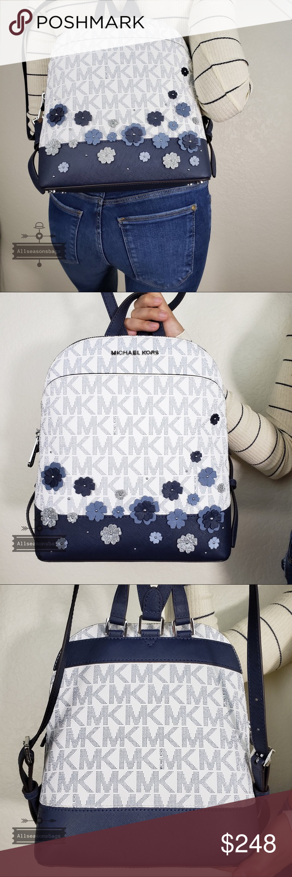 0a4dbf2fc756 NWT Michael Kors Emmy Floral navy backpack small Emmy Floral MK Logo  Signature Saffiano Leather SM