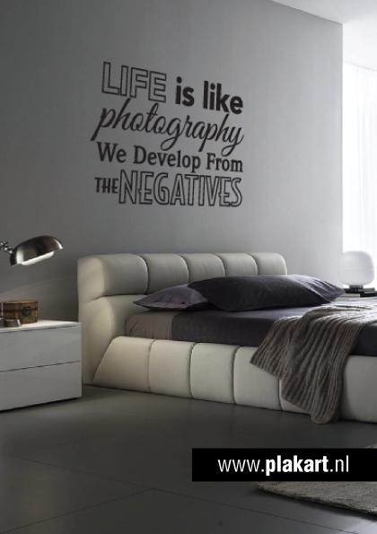 ontwerp muursticker muurtekst life is like slaapkamer