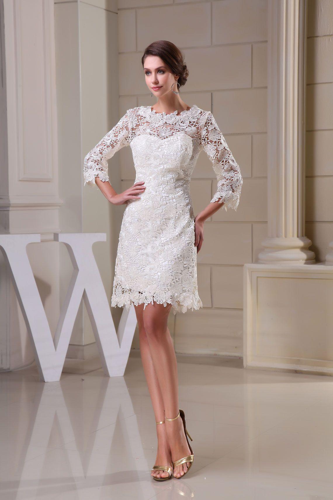 3/4 length sleeve sheath jewel neck knee length lace wedding dress ...