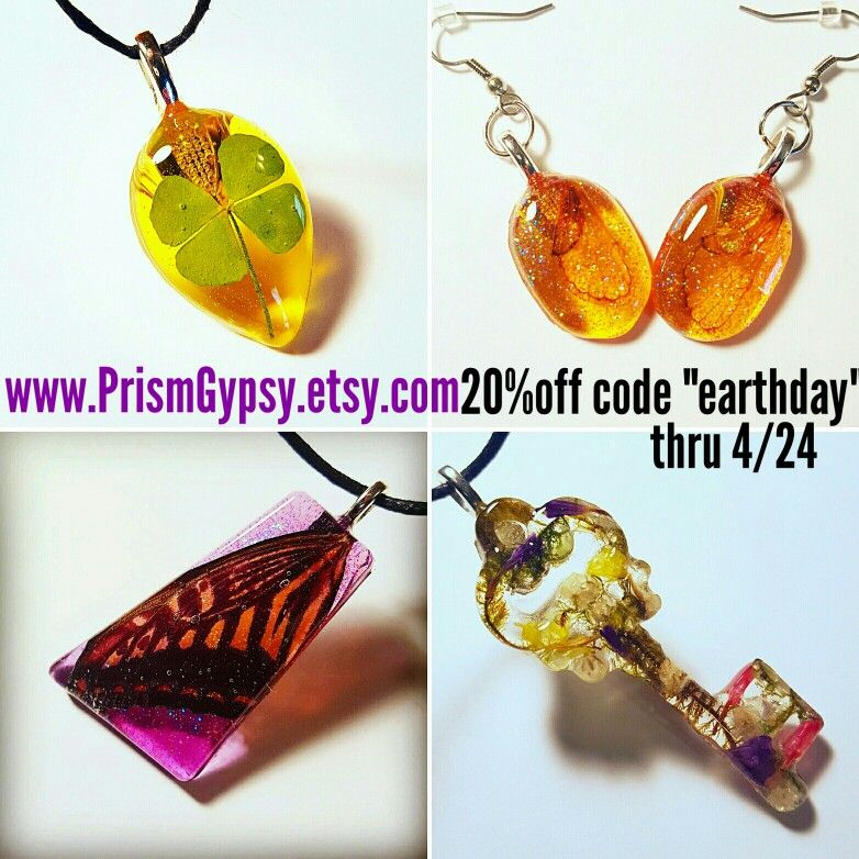 Www.PrismGypsy.etsy.com   20%off coupon code thru 4/24 handmade cruelty free nature jewelry flowers wings Bohemian Jewelry Resin prismgypsy