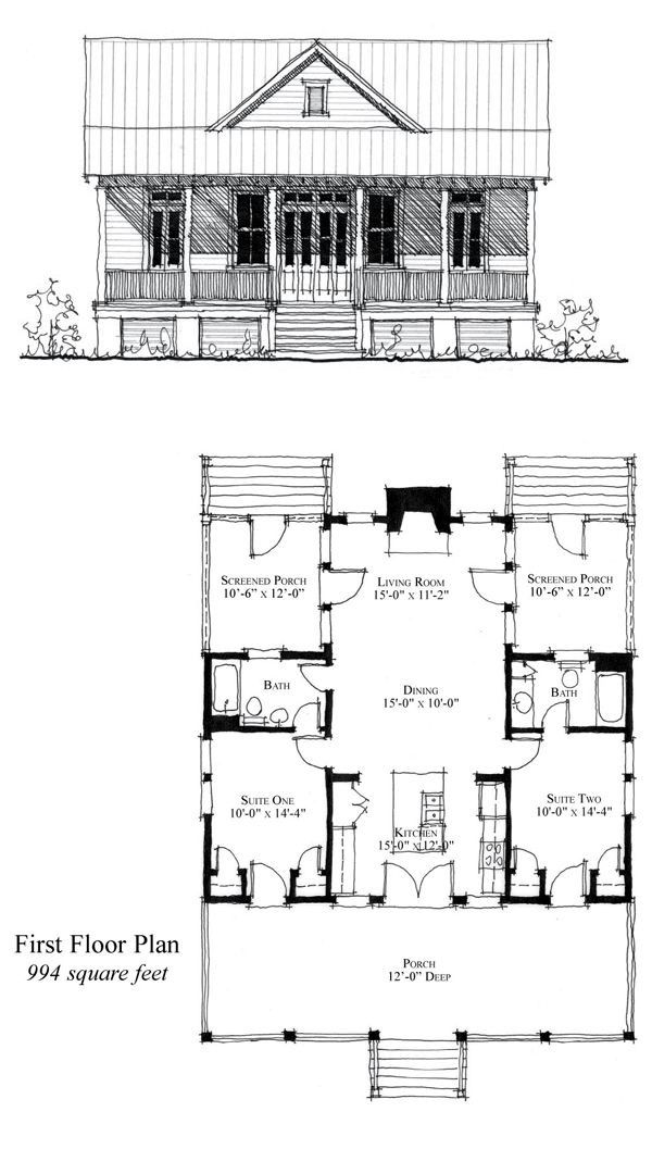 Close In One Porch And You Have A 3 Bedroom 2 Bath House House Plans Floor Plans Cottage Plan