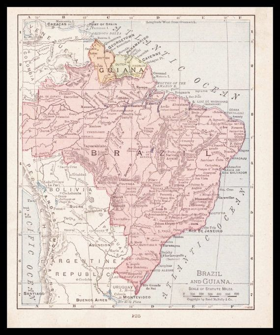 Carte Bresil Maps.Small Antique Brazil Map Of Brazil Guiana Map Vintage