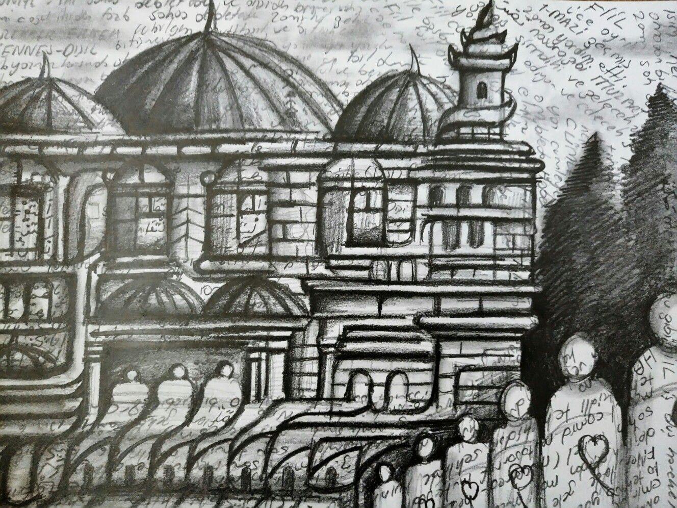 Karakalem Cami Cizim Resim Cizim Hayalgucu