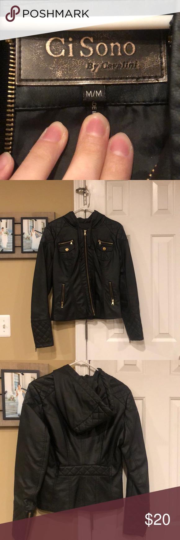 Ci Sono By Cavalini Faux Leather Jacket Leather Jacket Faux Leather Jackets Leather Jacket With Hood [ 1740 x 580 Pixel ]
