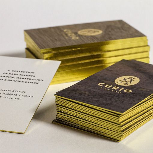 Luxury Gold Foil On Walnut Wood Business Cards For A Design Studio