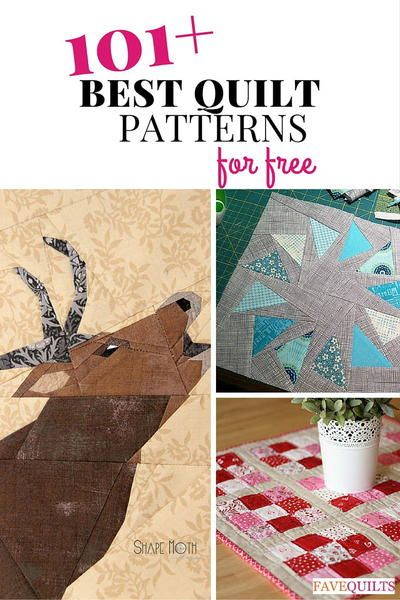 101 Best Quilt Patterns...Quilt Block Patterns, Quilt Patterns for Baby, and More posted by: Jessica Nichols, Editor of FaveQuilts.com We've put together a list of the most popular, most enticing projects that have been featured on our website in the past year. You can't go wrong with these awesome free quilt patterns!