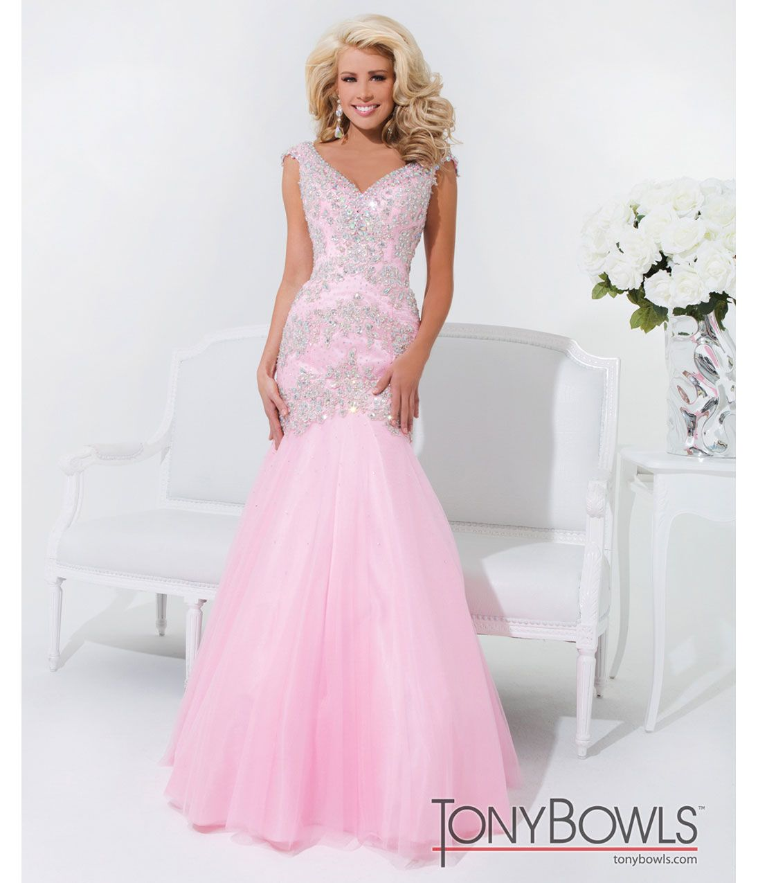 pink mermaid gown with beading prom_Prom Dresses_dressesss