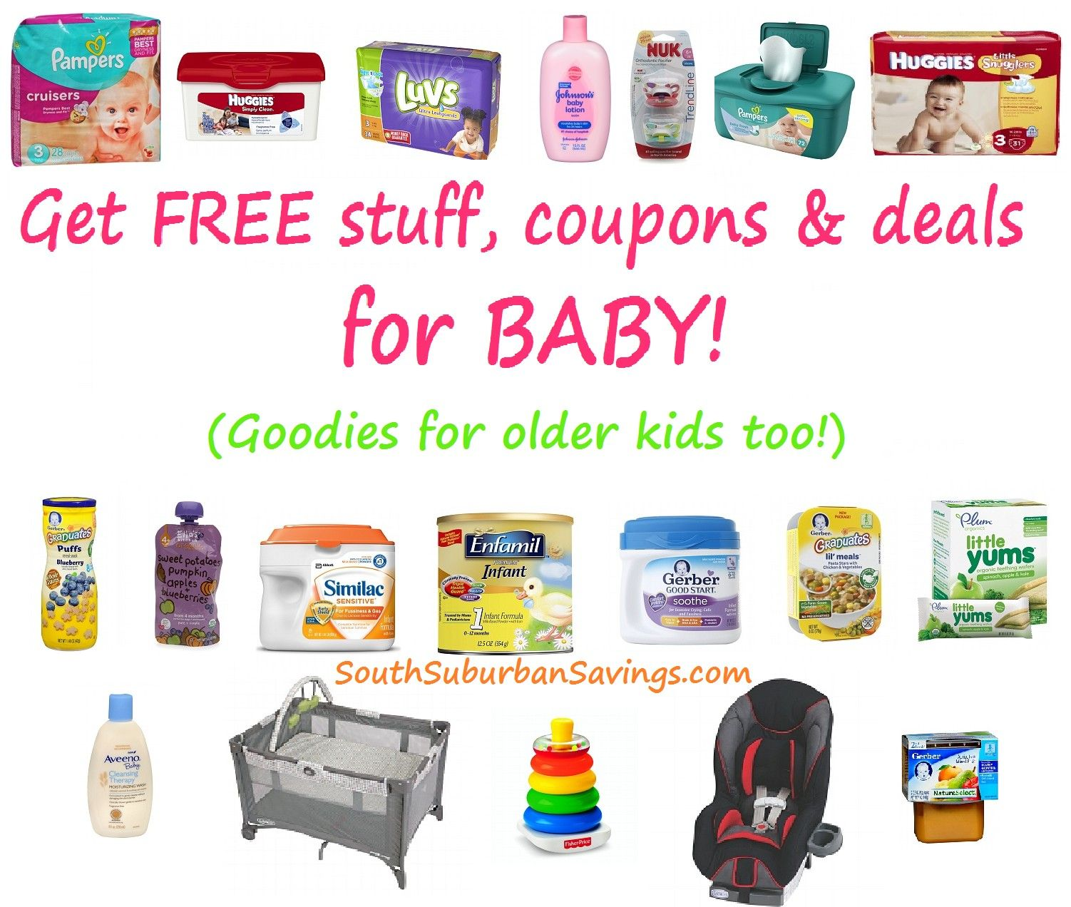 Huge List Of Deals On Diapers Wipes Baby Food Toys Playyards Etc Freebies Amp Links To Printable Coupons To Baby Coupons Baby Freebies Free Baby Stuff
