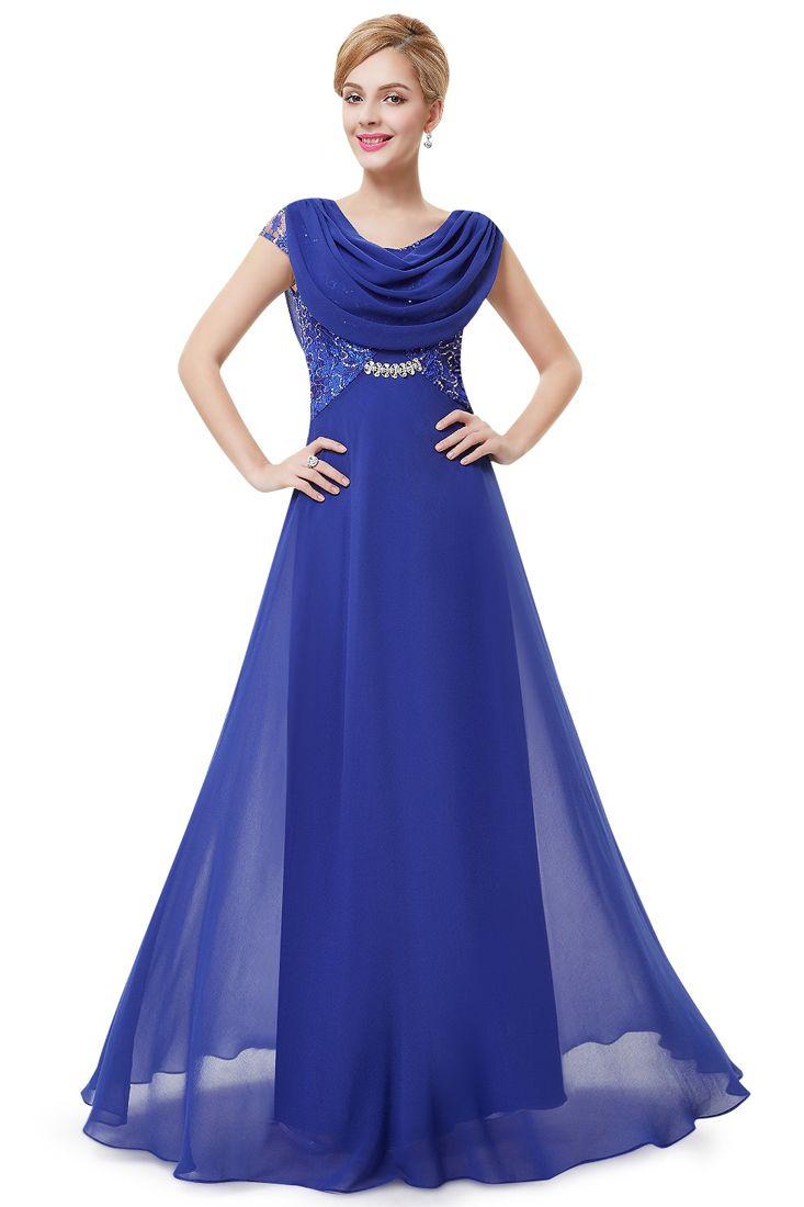 Rhinestone Detail Cowl Neck Chiffon Evening Dress Maxi