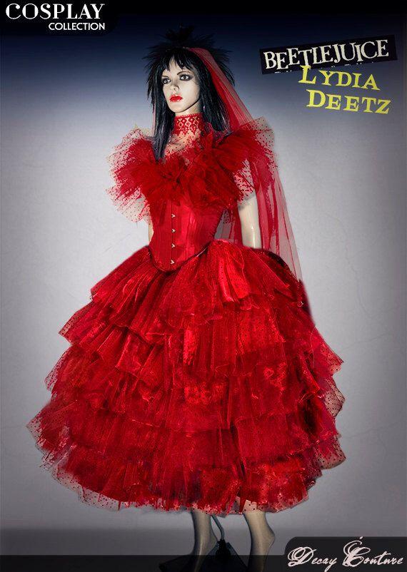 Lydia deetz wedding dress cosplay costume made with a red for Lydia deetz wedding dress