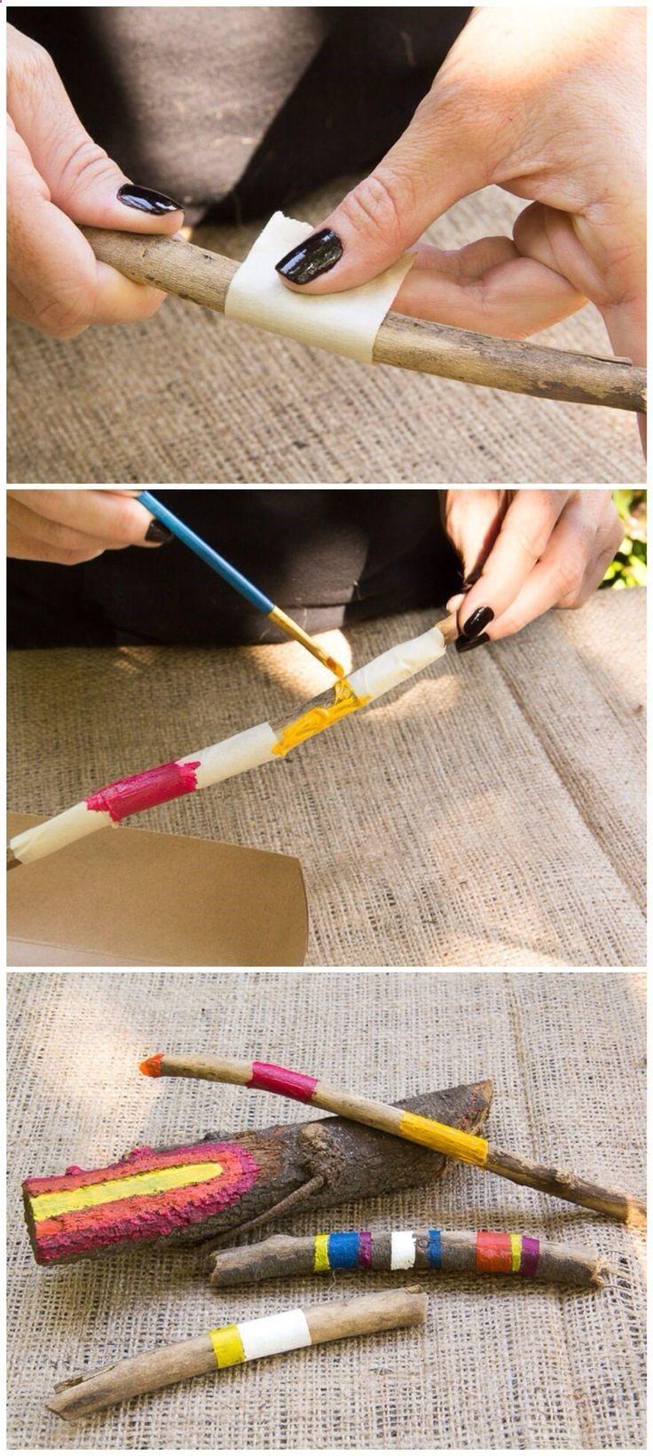 DIY Painted Sticks/Moonfrye/ Nature Crafts/ Crafty/ Kids Art Projects #bemaltestöcke