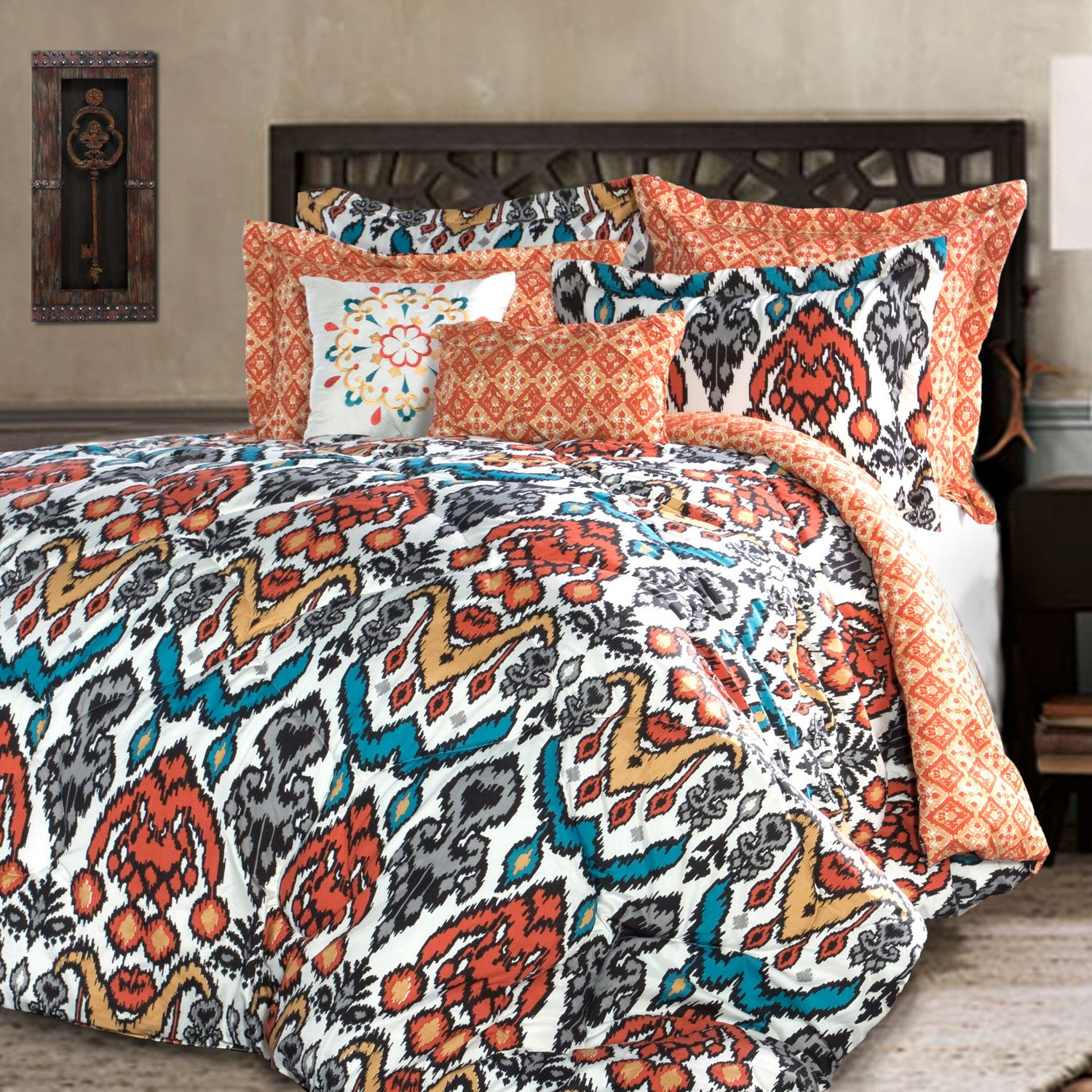 chezmoi piece com quilt set kitchen washed home rust solid shams and dp vintage twin comforter orange collection cotton amazon