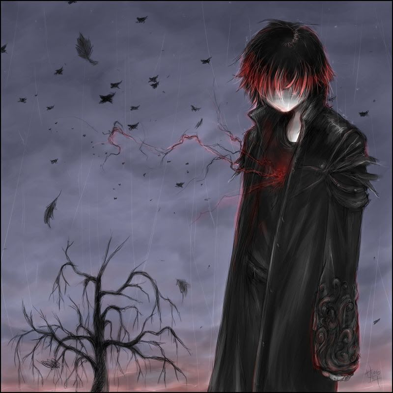 Anime Guy W Red And Black Hair Dark Anime Anime Vampire Boy