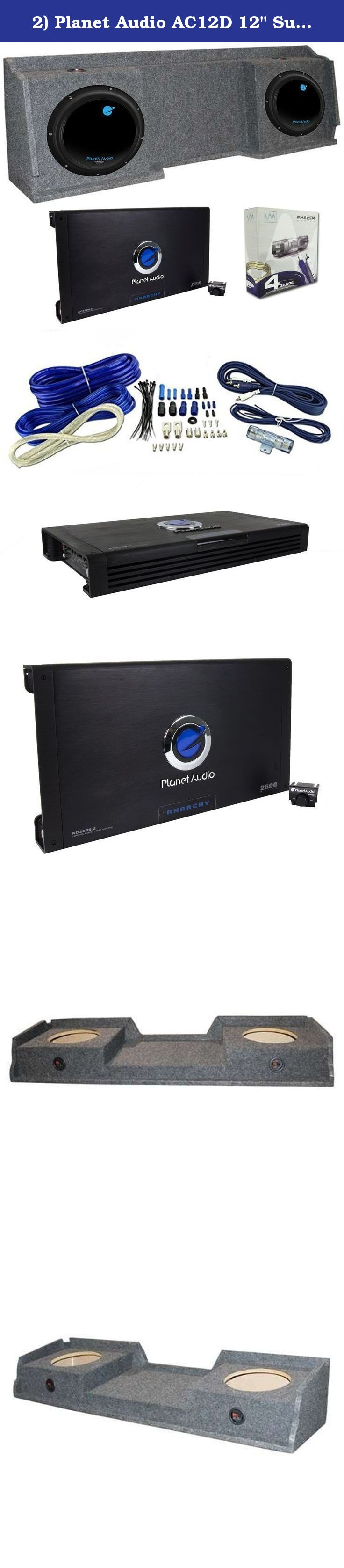 "Planet Audio AC12D 12/"" 3600W Subs 2 GMC Chevy Silverado Ext Cab /'99-06 Box"