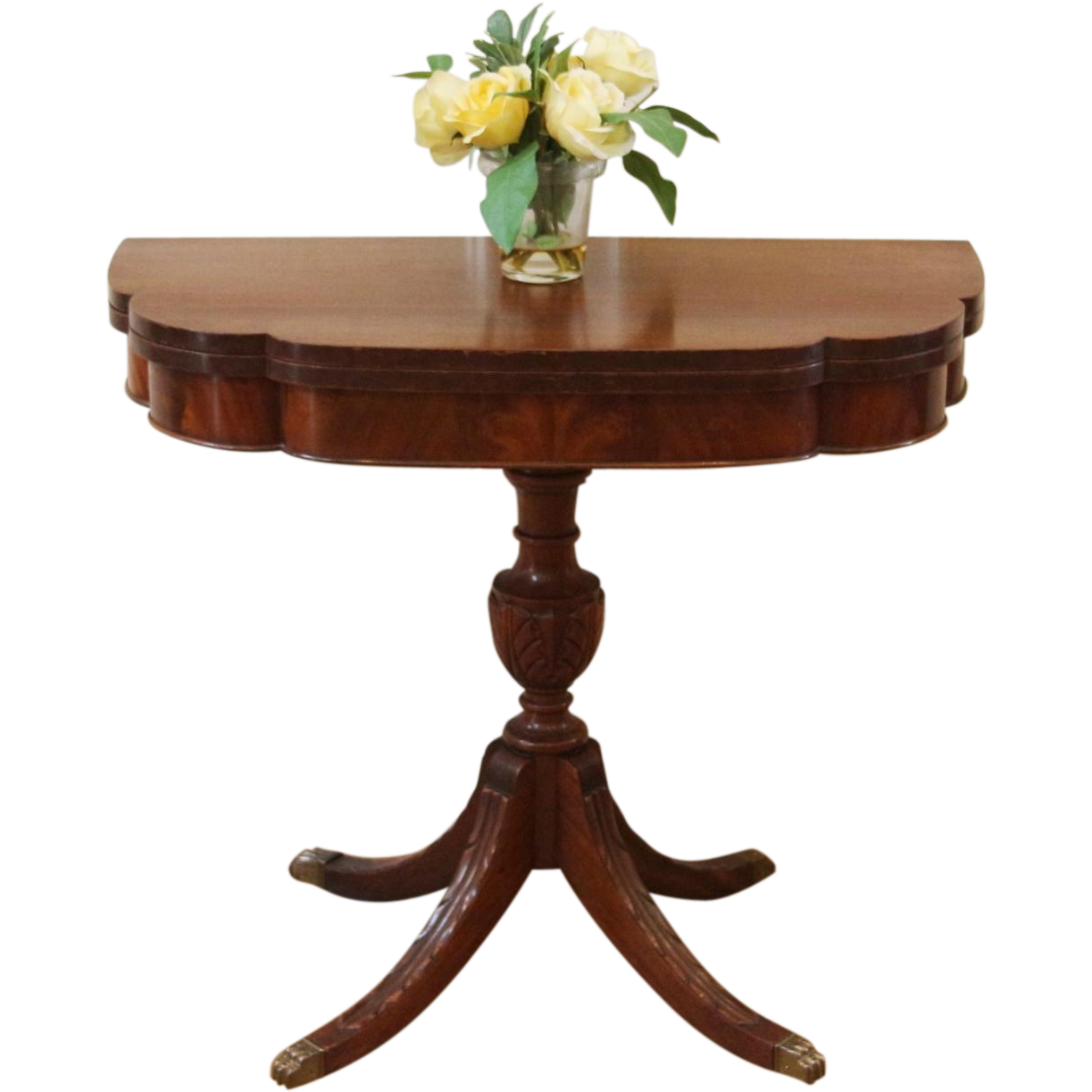 Details about 48 inch round formal duncan phyfe rosewood dining table - Vintage American Duncan Phyfe Mahogany Fold Top Console Game Table
