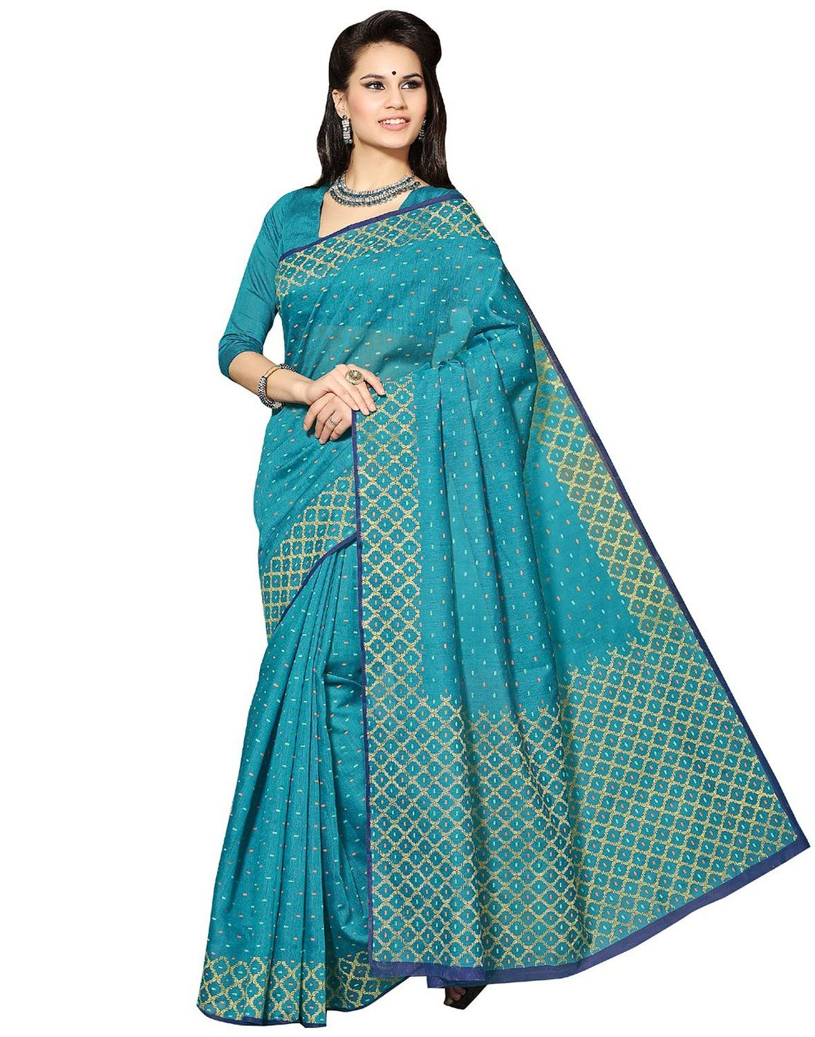 dcbbd79c86 Roopkala Silks & Sarees Cotton Saree with Blouse Piece (Bp-109 _Green)