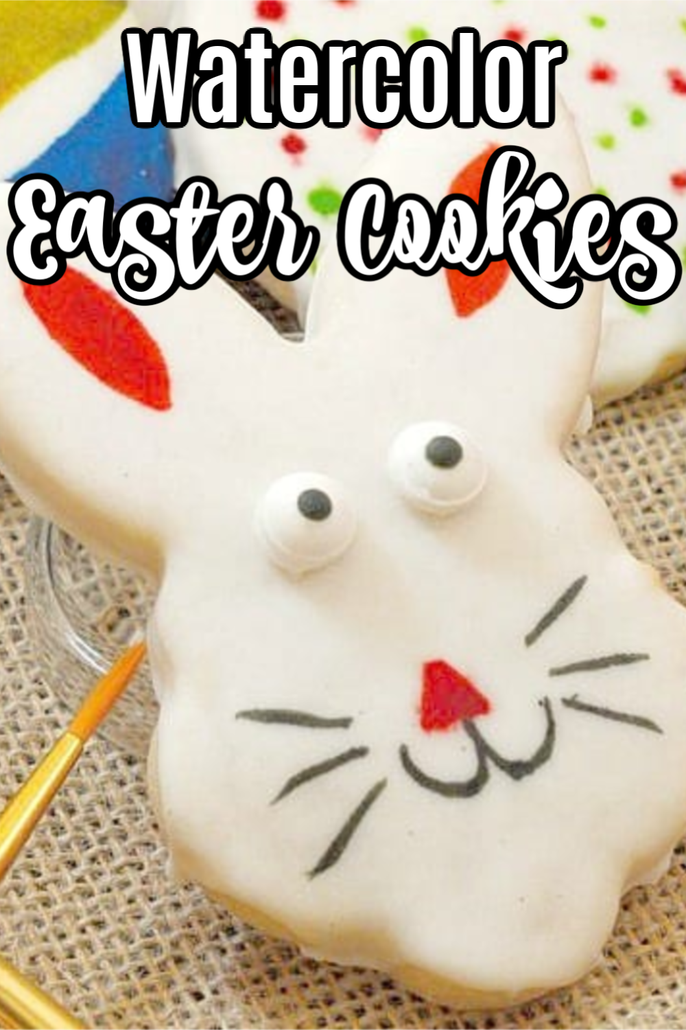 Watercolor Sugar Cookies can be made for any holiday, but I like them best for Easter. Easter Egg Cookies and Bunny Cookies are just so pretty with the soft glow of watercolor! #watercolorsugarcookies #sugarcookiecutouts #eastercookies