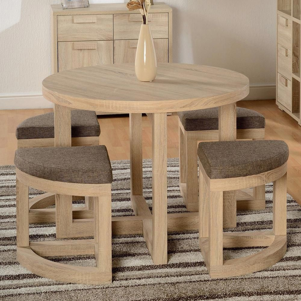 Dining Table Set Chairs 5pcs Wooden Oak Finish Round Brown