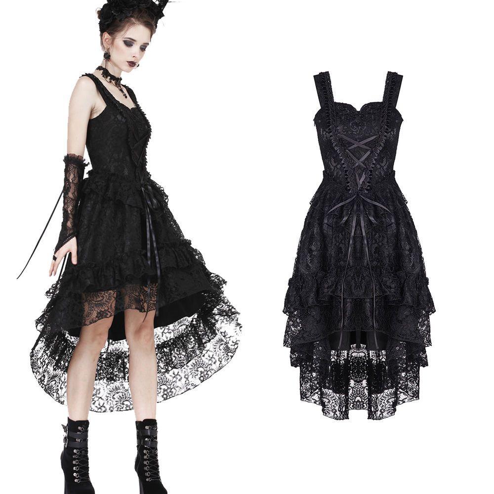 kleider punk rave gothic kleid mittelalterkleid schwarz lang