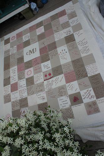 Have people sign in/give blessings by writing on quilt squares ... : how to put together a quilt - Adamdwight.com