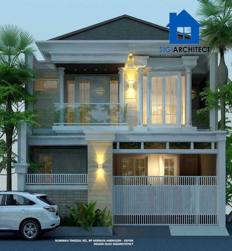 Rumah 2 Lantai Type 250 M2 Klasik Modern Carport Dek Beton Eksterior Rumah Home Fashion Desain Rumah