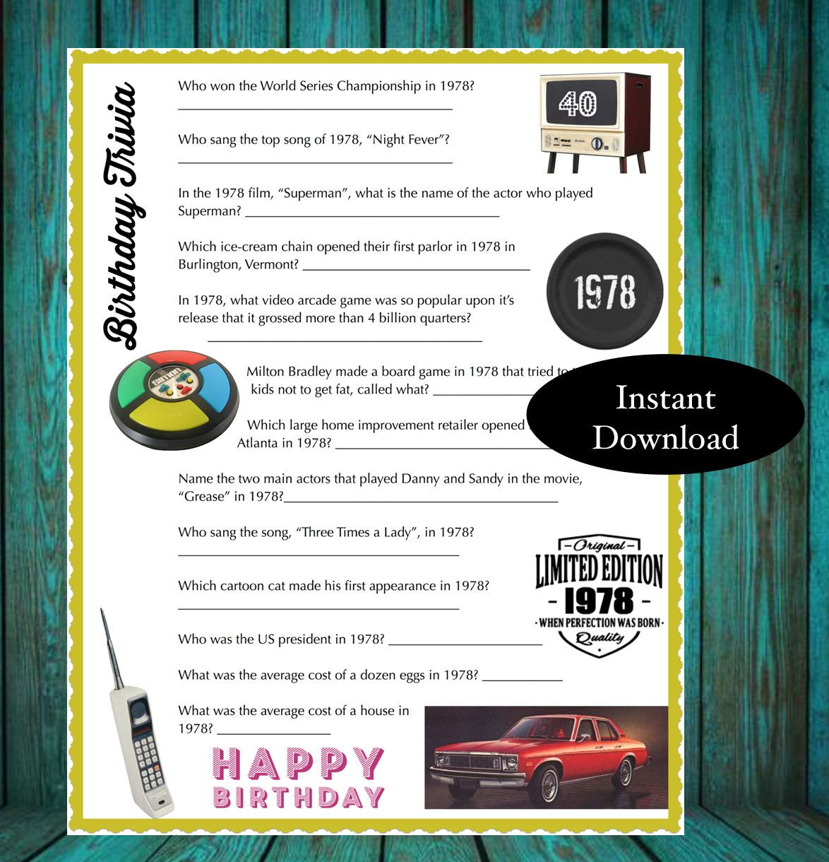 1978 Year Birthday Trivia Game Instant Download 40th Birthday