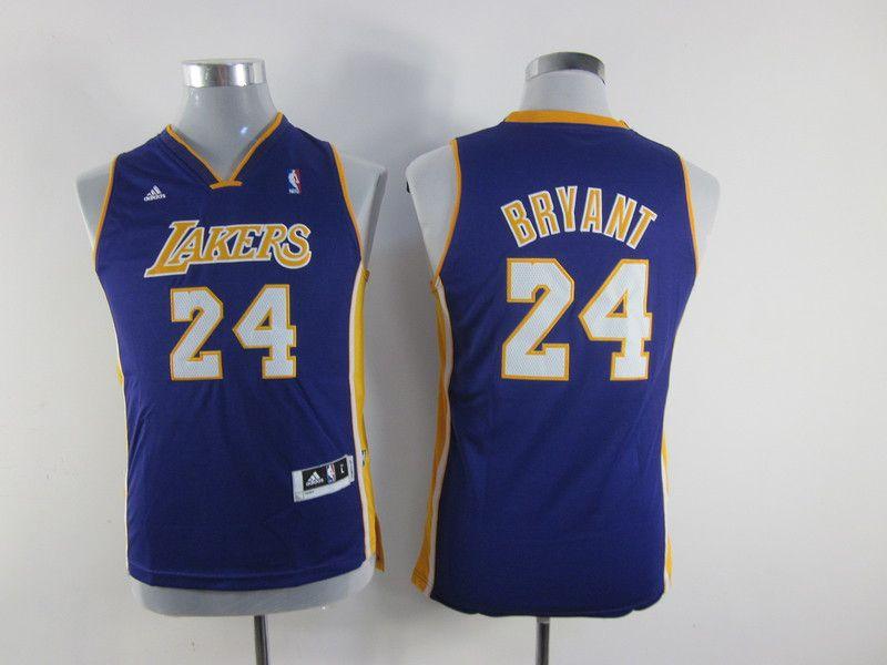 592d1130763 ... adidas nba kids los angeles lakers 24 kobe bryant new revolution 30  swingman youth purple jersey