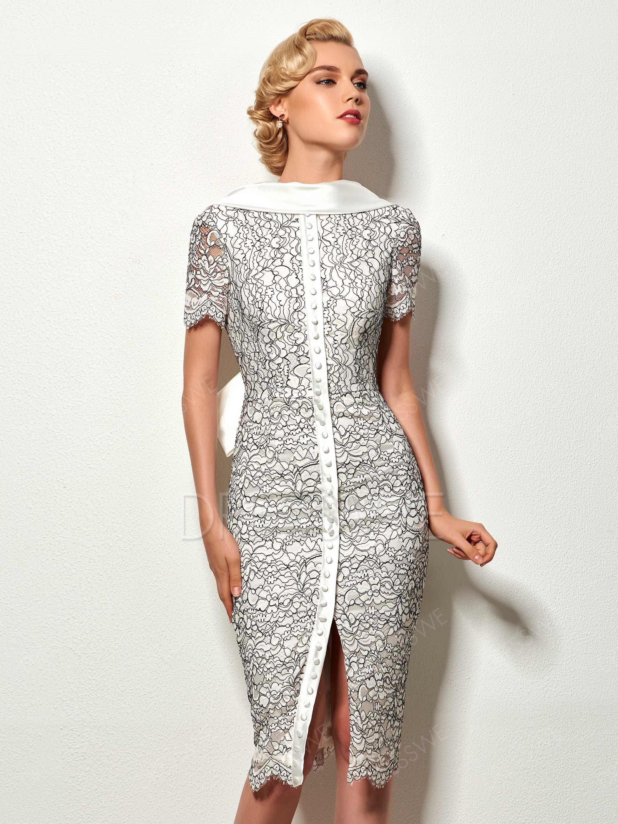 $107.99 Dresswe.com SUPPLIES Vintage Sheath Short Sleeve Deep Back Knee Length Cocktail Dress #backlesscocktaildress