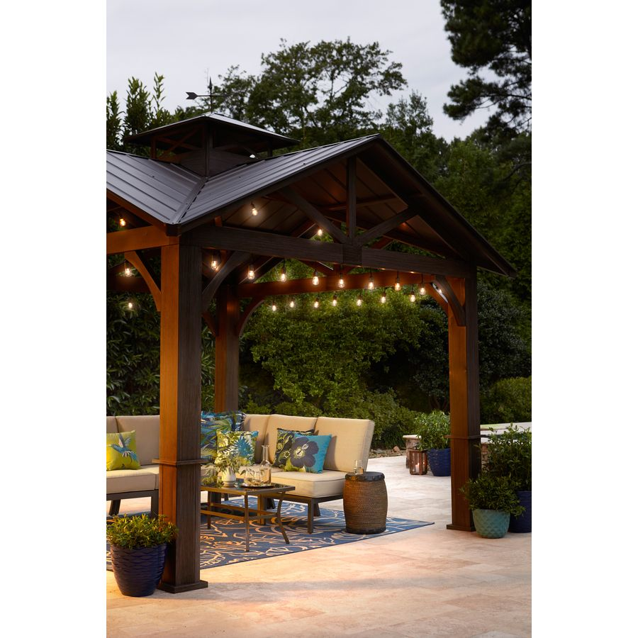 Allen Roth Wood Looking Hand Paint Metal Square Semi Permanent Gazebo Exterior 12 Ft X 12 Ft Foundation 10 56 Ft X 10 56 Ft Lowes Com Permanent Gazebo Dream Patio Gazebo