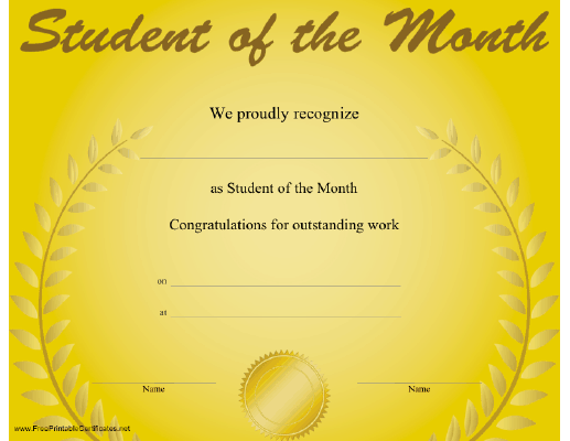 this congratulatory student of the month certificate features a