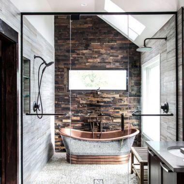 A Rustic And Modernbathroom