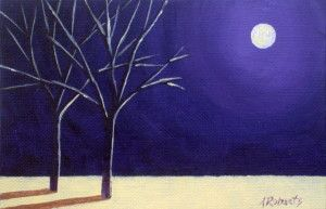 Two Trees in the Night Original Acrylic Painting