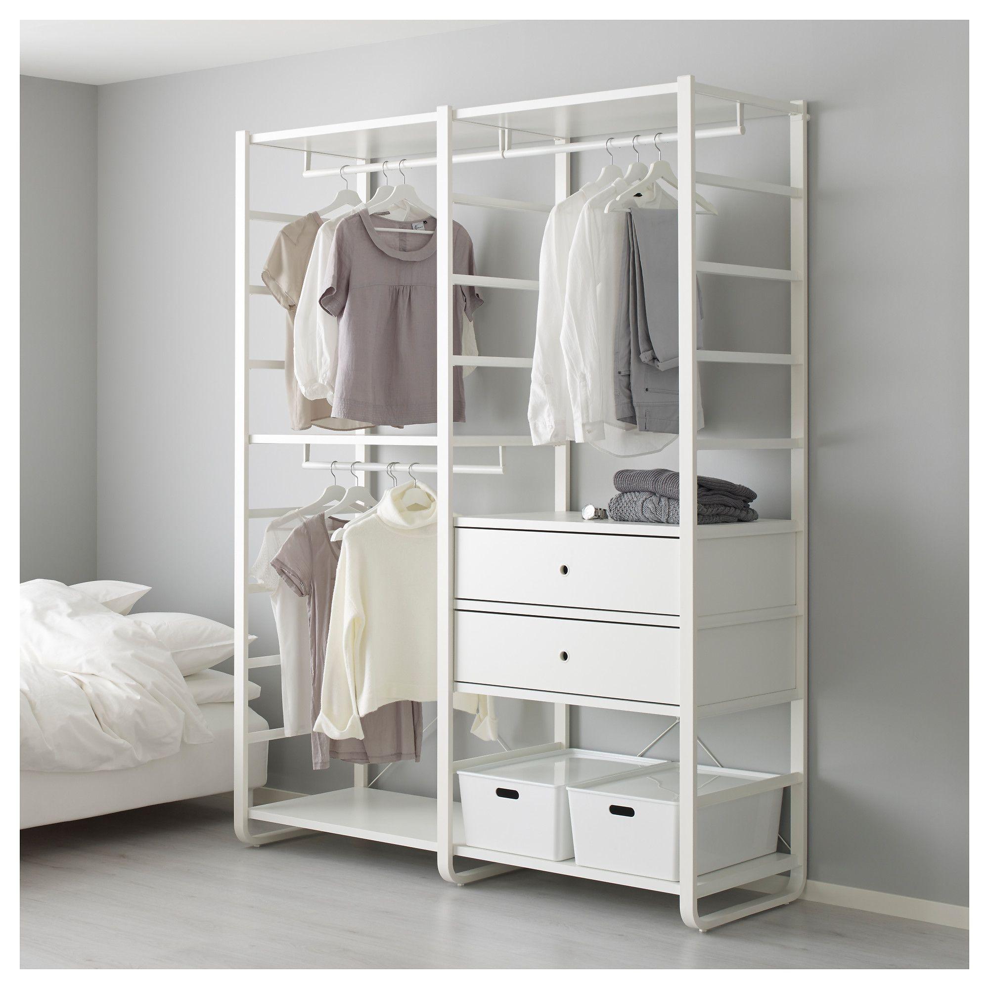 Elvarli 2 Section Shelving Unit White Width 64 7 8 Height 85 Order Today Ikea Clothing Rack Bedroom Shelving Unit Shelving