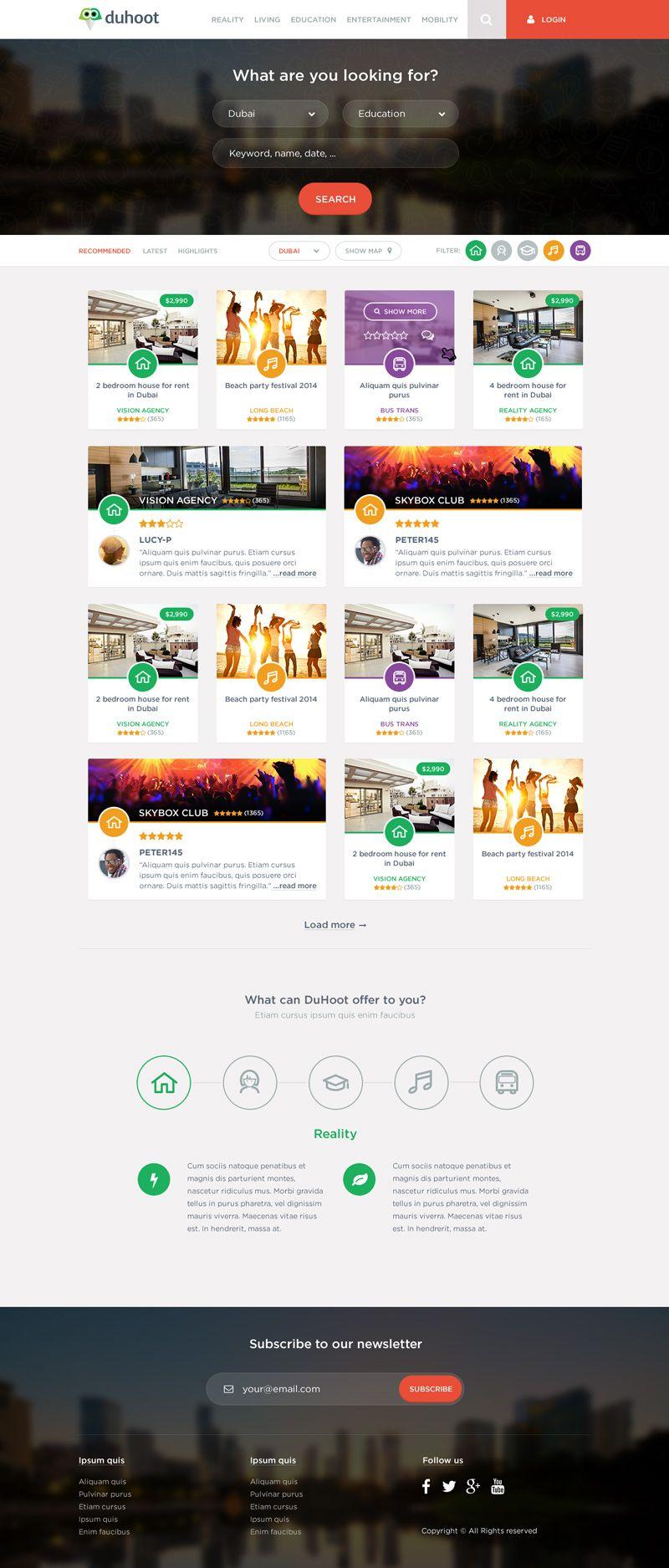 Duhoot Portal PSD Landing Template | Diseño web Galería | Pinterest ...